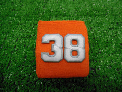 Orange  -  Wristbands with White Embroidered Numbers