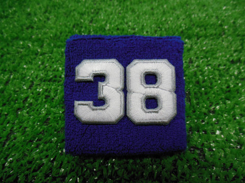 Royal Blue  -  Wristbands with White Embroidered Numbers