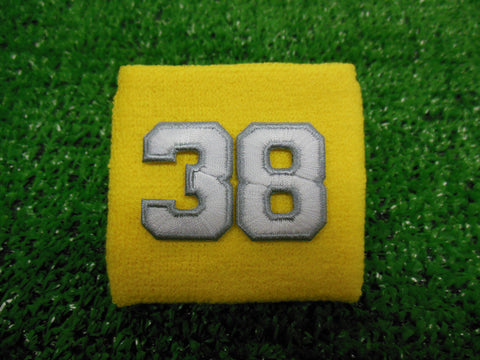 Yellow  -  Wristbands with White Embroidered Numbers