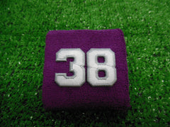 Purple  -  Wristbands with White Embroidered Numbers