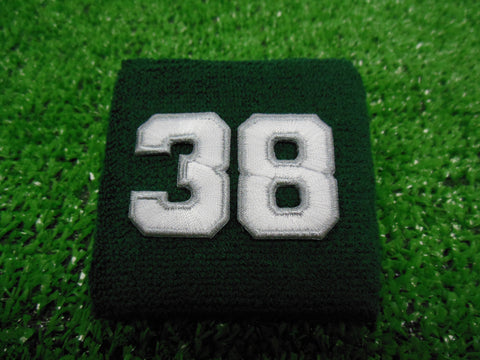 Dark Green  -  Wristbands with White Embroidered Numbers