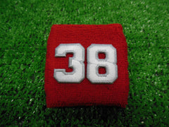 RED  -  Wristbands with White Embroidered numbers