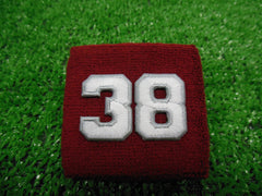 Maroon  -  Wristbands with White Embroidered Numbers