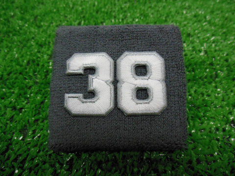 Grey  -  Wristbands with White Embroidered Numbers