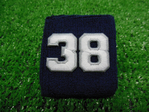 NAVY BLUE  -  Wristbands with White Embroidered numbers