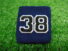 NAVY BLUE  -  Wristbands with Black Embroidered numbers
