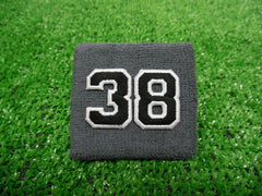 Grey  -  Wristbands with Black Embroidered Numbers