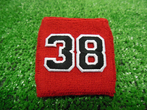 RED  -  Wristbands with Black Embroidered numbers
