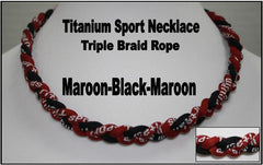 "20"" Titanium Sport Necklace (Maroon/Black/Maroon)"