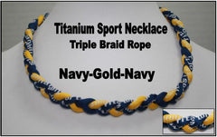 "20"" Titanium Sport Necklace (Navy/Gold/Navy)"