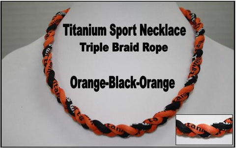 "20"" Titanium Sport Necklace (Orange/Black/Orange)"