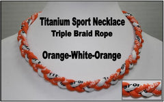 "20"" Titanium Sport Necklace (Orange/White/Orange)"