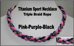 "20"" Titanium Sport Necklace (Pink/Purple/Black)"