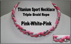 "20"" Titanium Sport Necklace (Pink/White/Pink)"