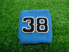 Columbia Blue  -  Wristbands with Black Embroidered Numbers