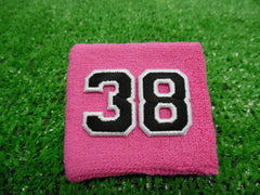 Pink  -  Wristbands with Black Embroidered Numbers