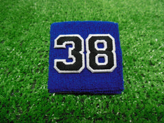 Royal Blue  -  Wristbands with Black Embroidered Numbers