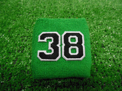 Kelly (Bright) Green  -  Wristbands with Black Embroidered Numbers