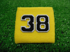 Yellow  -  Wristbands with Black Embroidered Numbers