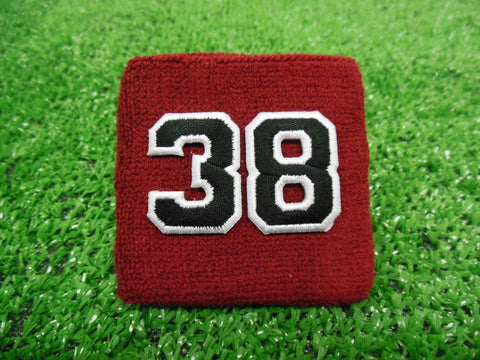 Maroon  -  Wristbands with Black Embroidered Numbers