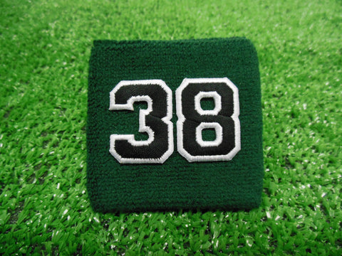Dark Green  -  Wristbands with Black Embroidered Numbers