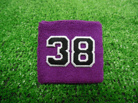 Purple  -  Wristbands with Black Embroidered Numbers