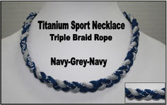 "20"" Titanium Sport Necklace (Navy/Grey/Navy)"