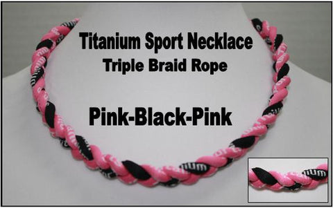 "20"" Titanium Sport Necklace (Black/Pink/Black)"