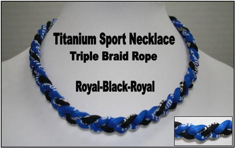 "20"" Titanium Sport Necklace (Royal/Black/Royal)"