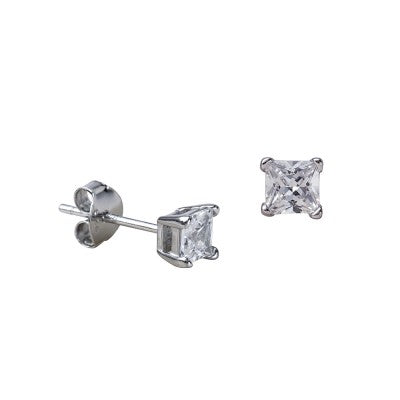 Sterling Silver Square CZ Stud Earrings Sizes 4mm - 8mm Available