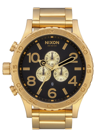 NIXON 51-30 Chrono All Gold / Black Face Gents Watch