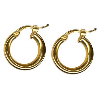9K Yellow Gold Thick Plain Hoop Earring 10mm