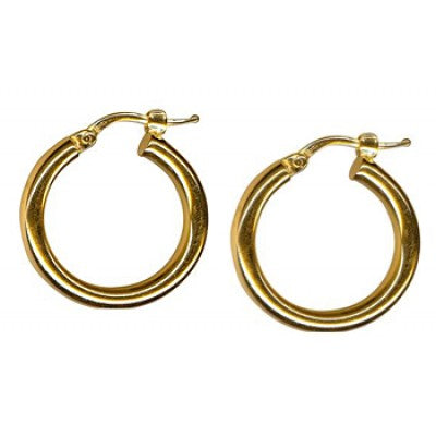9K Yellow Gold Thick Plain Hoop Earring 15mm
