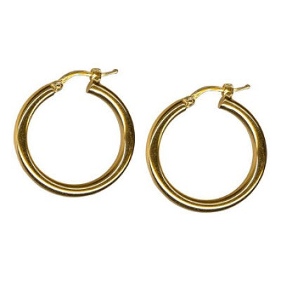 9K Yellow Gold Thick Plain Hoop Earring 20mm
