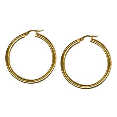 9K Yellow Gold Thick Plain Hoop Earring 30mm