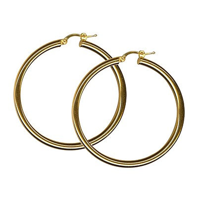 9K Yellow Gold Thick Plain Hoop Earring 40mm