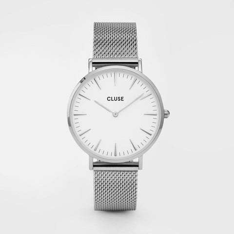 Cluse Watch Mesh Silver / White CL18105 La Boheme