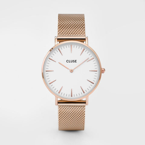 CLUSE La Boheme Mesh Rose Gold/White CW0101201001 Watch