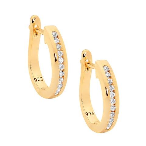 Ellani E251G Sterling Silver Half Round Earrings With Yellow Gold Plate