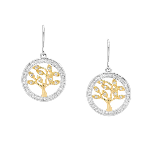 Ellani E457G Tree Of Life Sterling Silver Earrings With Yellow Gold Plate