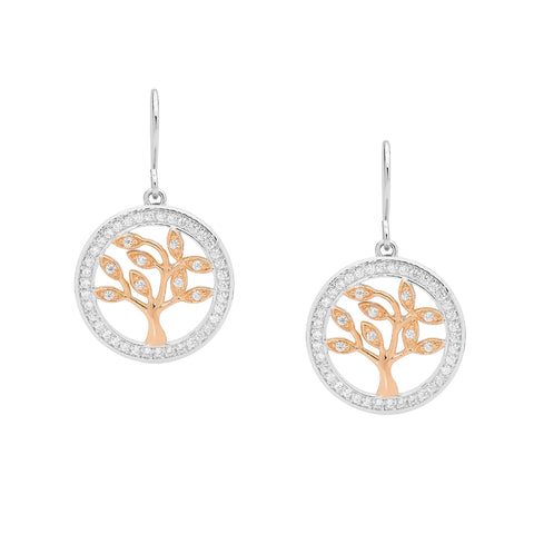 Ellani E457R Rose Gold and Sterling Silver Tree Of Life Earrings with CZ