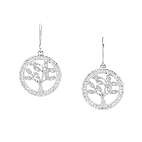 Ellani E457S Tree Of Life Earrings with CZ