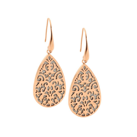 Ellani Stainless Steel Tear Earrings w Shimmer Back & Rose Gold IP Plating (available Gold, Rose, Silver) SE176R
