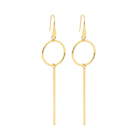 Ellani Stainless Steel Open Circle w Long Bar Earrings & Gold IP Plating (available Gold, Rose, Silver) SE178G