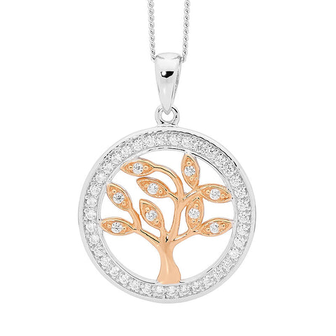 Ellani P777R Sterling Silver Tree Of Life Pendant Two Tone 20mm