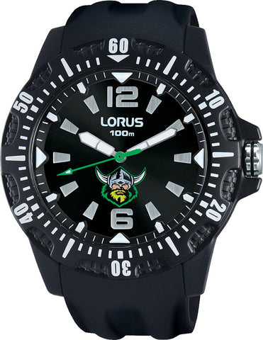 Official CANBERRA RAIDERS NRL Watch Black Rubber Strap LORUS
