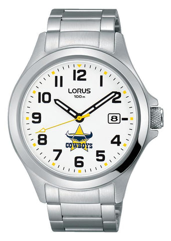 Official North Qld COWBOYS NRL Watch Stainless Steel White Dial LORUS RXH29KX-9
