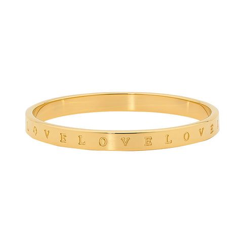 "Ellani Stainless Steel ""LOVE"" Bangle SB153G With Yellow Plate"