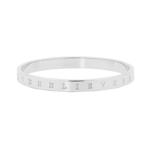 "Ellani Stainless Steel ""Believe"" Bangle  SB154S"