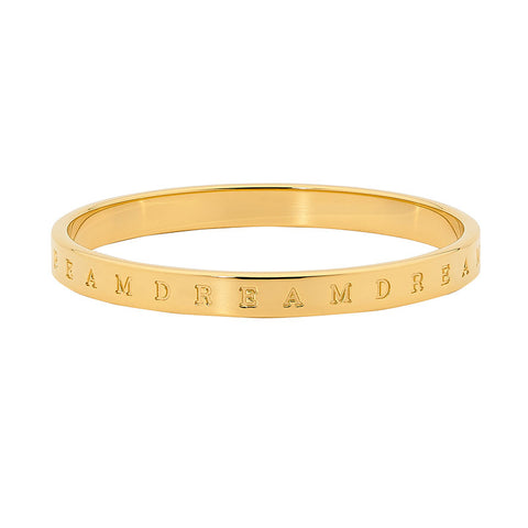 "Ellani Stainless Steel ""DREAM"" Bangle SB155G With Yellow Plate"